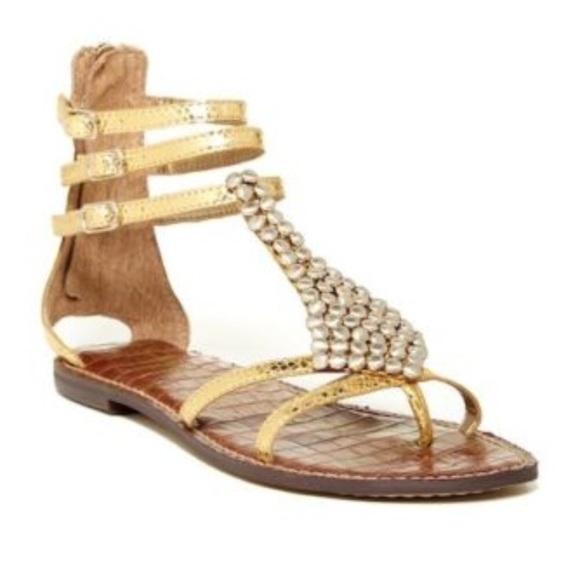 7427a056bb14 Sam Edelman Gold Ginger Gladiator Thong Sandals. M 5acce7a62ae12ff4ca2daa4f